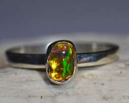 Sz7 Mexican Gorgeous Opal Solid Sterling Silver Ring