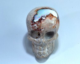 25ct Carved Skull Drilled Pendant Mexican Matrix Opal