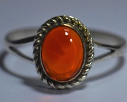Sz9 MEXICAN FIRE OPAL HIGH QUALITY .925 STERLING FABULOUS RING