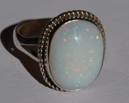 Sz7.5 SOLID ETHIOPIAN PINFIRE OPAL HIGH QUALITY .925 STERLING FABULOUS RING