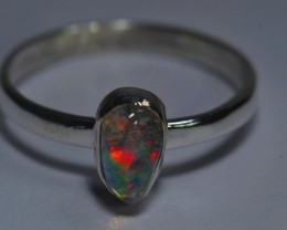 Sz5.5  WATER OPAL HIGH QUALITY .925 STERLING FABULOUS RING
