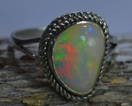 Sz6.25 SOLID ETHIOPIAN CRYSTAL OPAL HIGH QUALITY .925 STERLING FABULOUS RIN