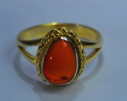 Sz8 SOLID MEXICAN CRYSTAL OPAL GOLD HIGH QUALITY .925 STERLING & GOLD F