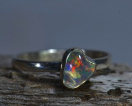 Sz6.75 SOLID MEXICAN CRYSTAL OPAL  HIGH QUALITY .925 STERLING FABULOUS RING