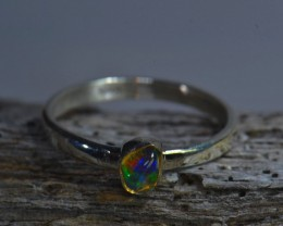 Sz6.5 SOLID MEXICAN CRYSTAL OPAL  HIGH QUALITY .925 STERLING FABULOUS RING