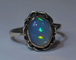 6sz HIGH QUALITY STERLING .925 SOLID MEXICAN OPAL RING