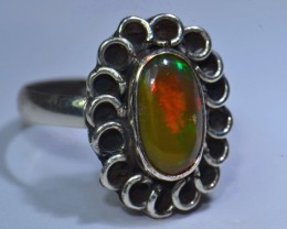 Sz5.5 SOLID CRYSTAL OPAL HIGH QUALITY .925 STERLING FABULOUS RING