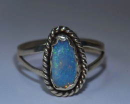 Sz7.75 SOLID CRYSTAL OPAL HIGH QUALITY .925 STERLING FABULOUS RING