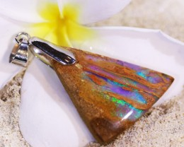 Wood fossil boulder opal pendant top