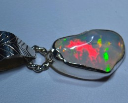 BRILLIANT EXTREMELY BRIGHT CARVED .925 SILVER SOLID LARGE OPAL STERLING PEN