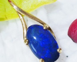 Solid Blue Opal Set in 18K Yellow Gold Pendant SU503