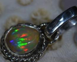 .925 Sterling  Solid Ethiopian Opal Pendant