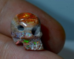 9.32ct  SKULL PENDANT EXTREMELY BRIGHT CARVED  UNIQUE OPALS