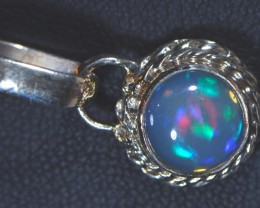 No Reserve Solid Fiery Ethiopian  Opal .925 Silver Pendant