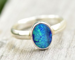 Opal Shimmer Ring - Silver - Size 7.5 (OR5)