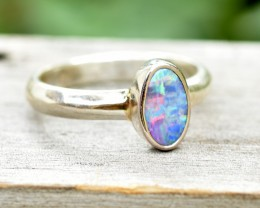 Opal Shimmer Ring - Silver - Size 6.5 (OR7)