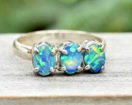 Opal Shimmer Cluster Ring - Silver - Size 8.5 (OR9)