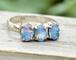 Opal Shimmer Cluster Ring - Silver - Size 9 (OR10)