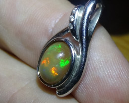 Opal Womans Solid Crystal Opal Silver Pendant With Cubic Zirconia *