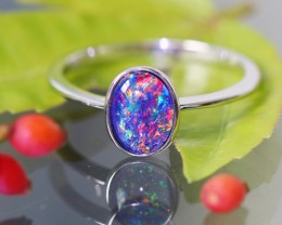 Cute Bright  Triplet Opal Rings  size 7 SU 589