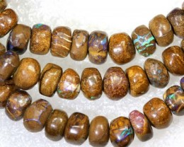 155.55CTS BOULDER OPAL DRILLED BEADS STRAND LO-4678