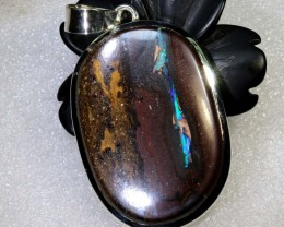 132.7CTS BOULDER OPAL STERLING SILVER PENDANT OF-2172