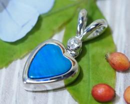 Cute Heart  doublet Opal set in Silver Pendant  SU615