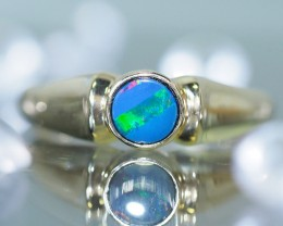 Stylish 9k Gold  Doublet Opal Ring SU634
