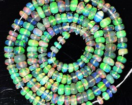 41.36 Cts Smoked Multi Color Play Ethiopian Black Opal Beads NR