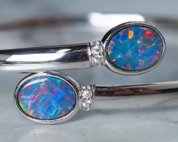 Modern Bangle Opal Doublet in sterling Silver SU638