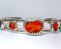 23CT MEXICAN FIRE OPAL CUFF STERLING SILVER QUALITY SILVERSMITH SOLID OPALS