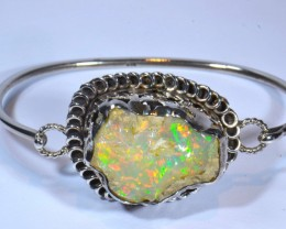 27CT ETHIOPIAN ROUGH OPAL CUFF STERLING SILVER QUALITY SILVERSMITH SOLID OP
