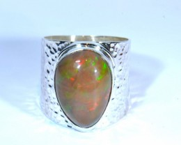 Sz10 SOLID  ETHIOPIAN OPAL HIGH QUALITY .925 STERLING FABULOUS RING
