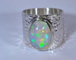 Sz8.5 SOLID  ETHIOPIAN OPAL HIGH QUALITY .925 STERLING FABULOUS RING