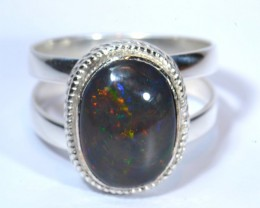 Sz11.5 SOLID  ETHIOPIAN BLACK OPAL HIGH QUALITY .925 STERLING FABULOUS RING