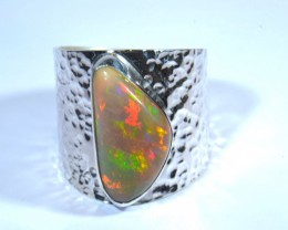 Sz11 SOLID  ETHIOPIAN BLACK OPAL HIGH QUALITY .925 STERLING FABULOUS RING