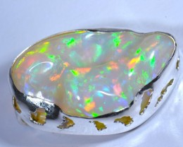 BRIGHT CARVED ETHIOPIAN WELO OPAL HIGH QUALITY .925 STERLING PENDANT