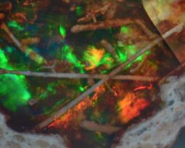 14.12ct  X  Rutile Writing Fiery Multicoloured  Mexican Matrix Opal Cantera