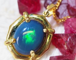 Solid Black Opal Set in 18K Yellow Gold Pendant SU658
