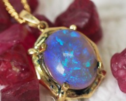 Solid Fire  CRYSTAL Opal Set in 18K Yellow Gold Pendant SU659