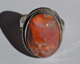 Sz6 MEXICAN FIRE OPAL QUALITY .925 STERLING FABULOUS RING