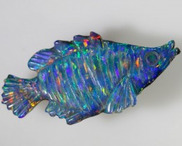 3.80 CTS COLOURFUL  FISH CARVING DOUBLET OPAL [SEDA636]6