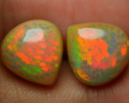 5.90 CRT TOP QUALITY PERFECT PAIRS HONEYCOMB NEON FIRE BROWN BASE WELO OPAL