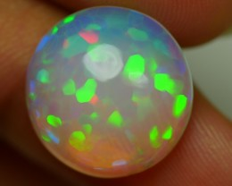 9.00 CRT LOVELY ROUND CRYSTAL CLEAR HEXAGON PUZZLE PATTERN WELO OPAL