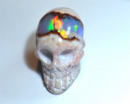 10.5ct DRILLED MATRIX OPAL SKULL FIRE OPAL SPECIMEN
