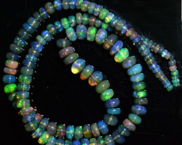 29.50 Cts Smoked Multi Color Play Ethiopian Black Opal Beads NR