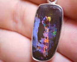 22.55ct Quality Multicolour Boulder Opal Polished Stone Pendant. (With Chai