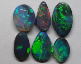 5.65CT  LIGHTNING RIDGE QUALITY BLACK OPAL PARCEL OF SOLID STONES MI 320