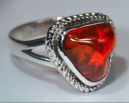 Sz10 SOLID CHERRY MEXICAN FIRE OPAL STERLING .925 QUALITY RING