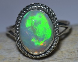 7SZ BRIGHT ETHIOPIAN WELO OPAL HIGH QUALITY .925 STERLING RING